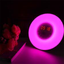 night light alarm clock led wake up light alarm clock rgb white night light fm radio digital