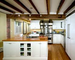 wood beam ceiling designs kitchen traditional with white cabinets