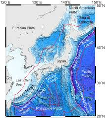 World Plate Boundaries Map by Ocean Bottom Topography Around Japan White And Red Lines