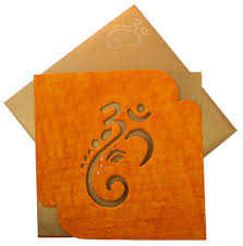 Paper Invitations Wedding Card With Ganesha Image In Orange Handmade Paper