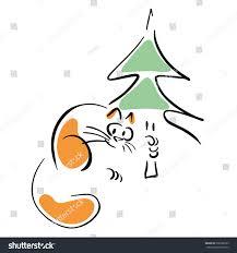 cat christmas tree stock vector 338788229 shutterstock