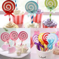 lollipop party favors 6pcs lollipop party cupcake toppers picks decoration for kids