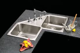 Corner Kitchen Base Cabinet Kitchen Oh7jh6c Corner Double Kitchen Sinks And Brown Wooden