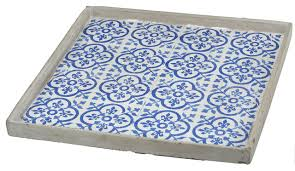 A&B Home Winston Square Decorative Tray Blue View in Your