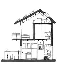 Micro Studio Plan by Hand Drawn Section Study For 1 And 2 Story Micro Apartments