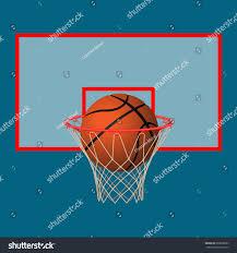 ball basketball hoop on backboard realistic stock vector 603009683