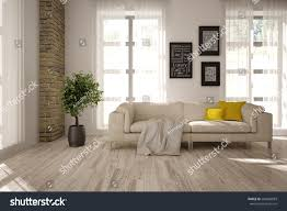 Livingroom Interior Design White Interior Design Living Room Scandinavian Stock Illustration
