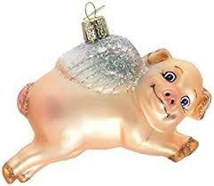 world flying pig glass blown ornament