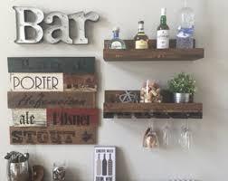 Distressed Wood Shelves by Unique Wine Rack Shelf U0026 Glass Holder Distressed By Thebazingabox