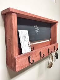 rustic wooden key chain chalkboard picture frame hooks vintage