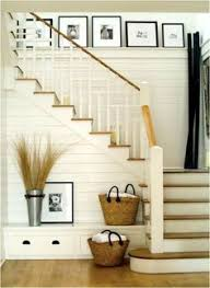 L Shaped Stairs Design Entryway With Rustic Wood Floors L Shaped Stairway Shiplap Wall