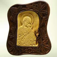wall art wood carving virgin mary and jesus orthodox