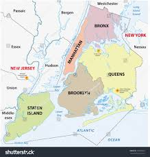 Map Of New York State With Major Cities by New York City 5 Boroughs Map Stock Vector 152208935 Shutterstock