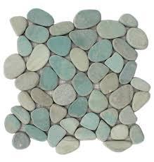 sliced aqua pebble tile 9 ea at cascadestoneworks com bathroom