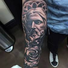 lord and rose religious tattoo male full sleeve u2013 demon tattoos