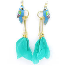 feather earrings online retro tropical parrot earrings