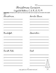 holiday cursive handwriting worksheets freebie by theroommom tpt