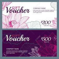salon gift card vector gift voucher template with lotus flowers business