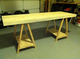 Diy Trestle Desk Custom Diy Trestle Desk With Storage And Wooden Legs Made From