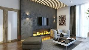 big gray wall stone with built in fireplace living room design