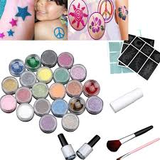 2017 24 colors powder temporary shimmer glitter tattoo kit for