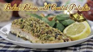 baked salmon with crusted pistachio