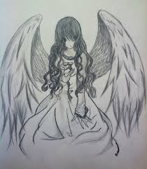 drawn anime angel pencil and in color drawn anime angel