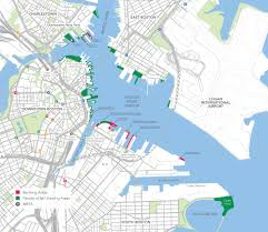 Boston Street Map by Inner Harbor Map Sail Boston