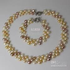 real pink pearl necklace images 2018 pearl jewelry set natural color white pink purple 3rows fresh jpg