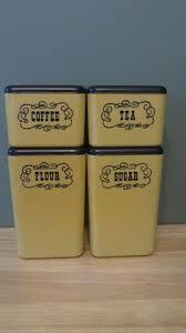 kitchen canister sets vintage vintage 1950s yellow floral ransburg kitchen canister set