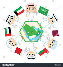 Map Of Bahrain Children Surrounding Map Countries Which Belongs Stock Vector