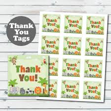 safari thank you favor tags jungle animals baby shower favor