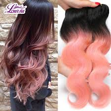 Two Tone Ombre Hair Extensions by Brazilian Pink Weave Hair Body Wave Rose Gold Ombre Hair Extension