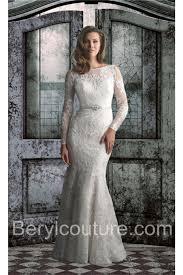 Wedding Dress Lace Sleeves Bateau Neck Satin Lace Long Sleeve Wedding Dress With Belt