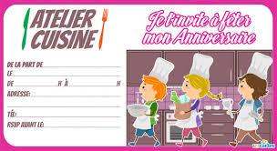 atelier cuisine invitation anniversaire atelier cuisine 123 cartes