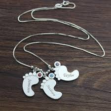 kids name necklaces jewelry silver baby charm necklace with birthstone kids