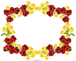 beautiful red and yellow clip art flowers frame border design 2014