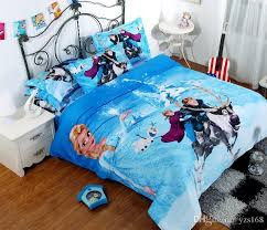 Anime Bed Sheets 3d Reactive Printing Blue Frozen Pure Cotton Three Piece Cartoon