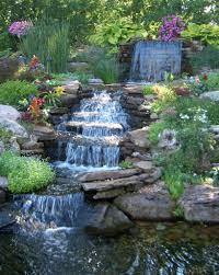 exterior pretty backyard waterfall completing the ponds and patio