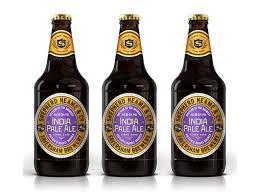 purple and gold metallic beer bottle labels shepherd neame ipa