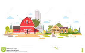 big farm with house farmland countryside landscape stock vector