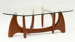 Glass And Wood Coffee Tables by Buy A Custom Mid Century Modern Glass Top Hand Carved Wood Coffee