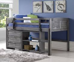 Antique Finish Bedroom Furniture Louver Low Loft Bed With Storage Antique Grey 790aag C Donco