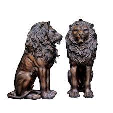 metal lion sculpture bronze sitting lion sculpture pair metropolitan galleries inc