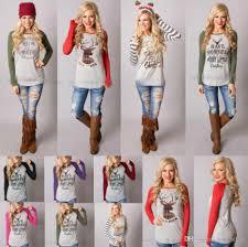 christmas t shirt women xmas elk shirts santa claus tops long