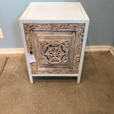 iron nightstand with carved wood door nadeau philadelphia