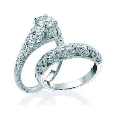 diamond wedding ring sets for 1 carat vintage diamond wedding ring set for in white