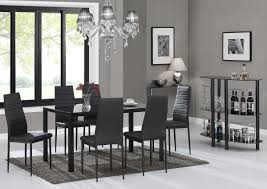 ebs black glass dining table set and 6 chairs dining room