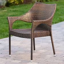 Stackable Wicker Patio Chairs Amazon Com Del Mar Outdoor Brown Wicker Stacking Chairs Set Of 2