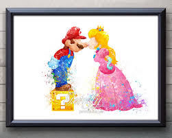Super Mario Home Decor Mario And Princess Peach Super Mario Brothers Watercolor Poster